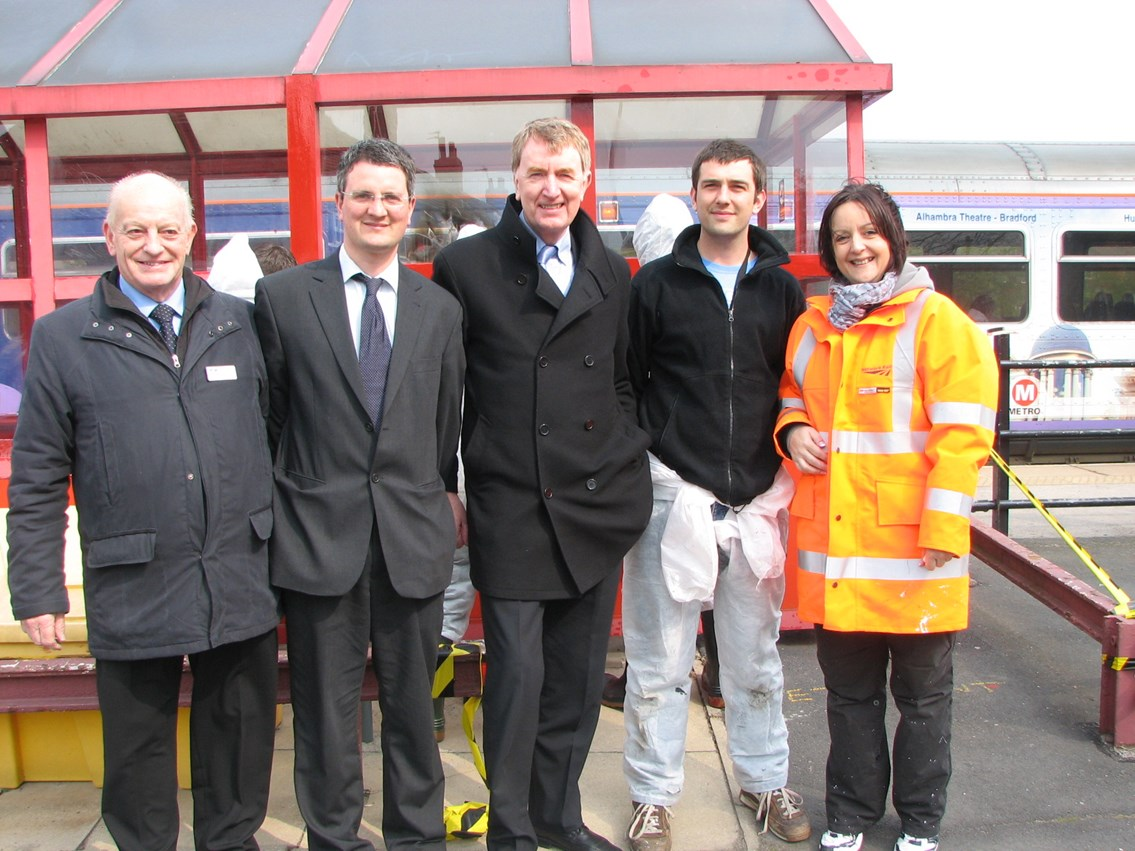 Activity at Micklefield station: L-R Phil Thickett from Northern Rail; Councillor James Lewis; Colin Burgon MP; James Barton reparation co-ordinator from Leeds YOS; Vicki Smith community safety manager from Network Rail visit Micklefield station where young offenders are completing reperation work