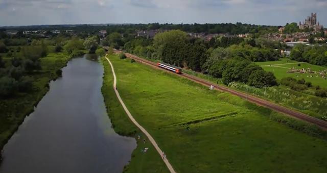 Ely rail corridor: Aerial view of Ely railway looking south.