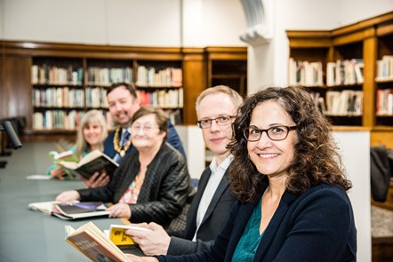 Islington Councillors road test new study space in the newly refurbished Central Library: From front: Cllrs Asima Shaikh, Richard Watts, Marian Spall, Troy Gallagher and Tricia Clarke.