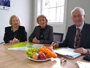 Healthy weight signing: Sharon Stoltz, Director for Public Health signs the healthy weight declaration with Cllr Carol Runciman, Executive Member for Health and Adult Social Care and Cllr Ian Cuthbertson, Executive Member for Children and Young People.
