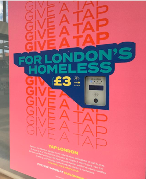 London Bridge station installs contactless donation point to help tackle homelessness one tap at a time: TAP London image