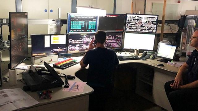 New Trafford Park signalling control at the Manchester Rail Operating Centre