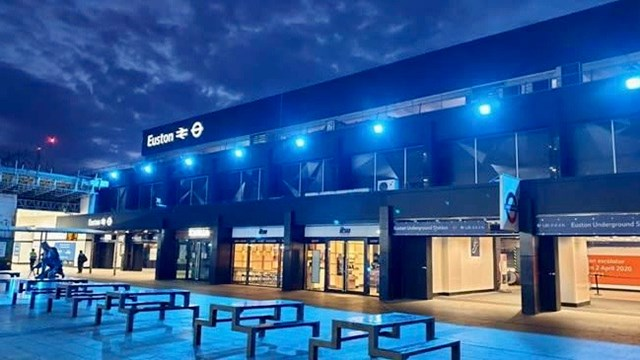 Three major North West and Central region stations turn blue to honour NHS: Euston station lit up blue for Clap for Carers (1)