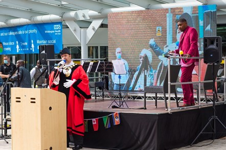 Islington Mayor Cllr Gallagher speaks during the unveiling of the statue. (Credit: Patrick Lewis)