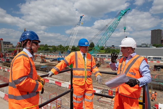 Old Oak Common Start of Construction event: Transport Secretary Grant Shapps meets Mark Thurston and Matthew Botelle before signaling the start of main construction work on HS2's Old Oak Common station