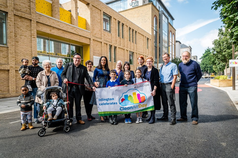 "Pioneering ""street for children"" launches in Islington on Clean Air Day: Children and local residents join local councillors and campaigners for the launch of Moreland Street on Clean Air Day 2019"