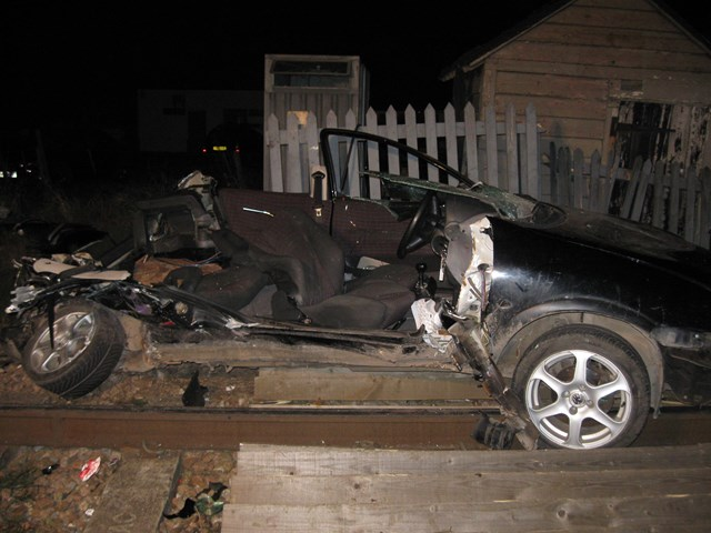 Remains of car after smash with train at Sandhill crossing near Cambridge (2)