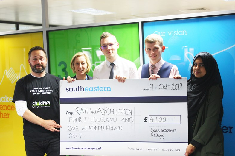 Southeastern employees raise over £7000 for charities: Railway Children cheque presentation