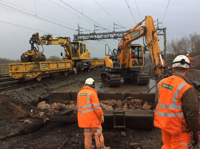 West Coast main line reopens after successful Christmas rail upgrade near Stafford: One of two bridges being replaced on the West Coast main line near Stafford over Christmas