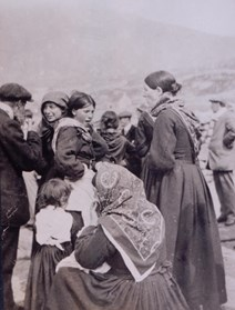 st kilda best clothes: St Kildan women, dressed in their best clothes for the benefit of visitors off the SS 'Hebrides', c1913 National Records of Scotland, GD1/713/1
