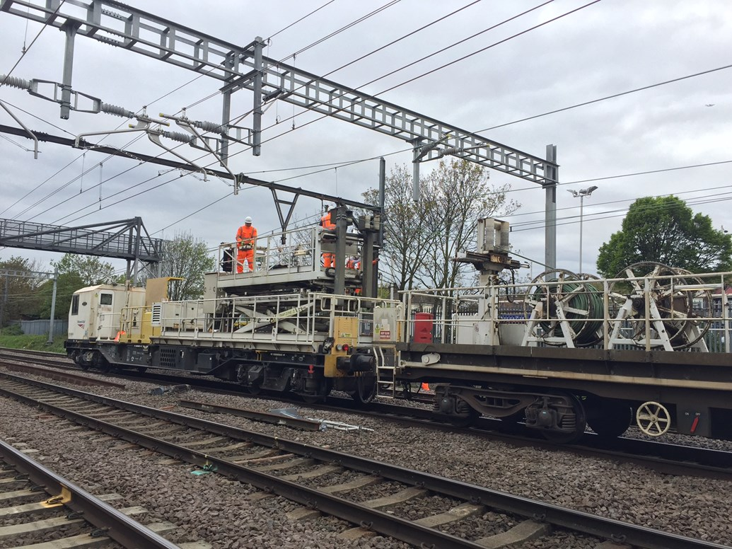 Easter rail upgrades deliver reliability boost for passengers in Norfolk, Suffolk and Essex: Easter taking down the old wire and prep work