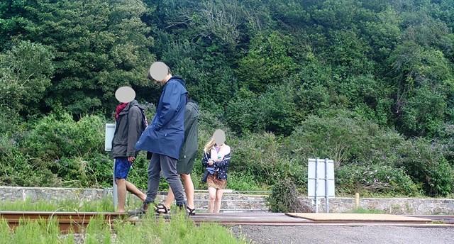 A group walk along the track at Harlech