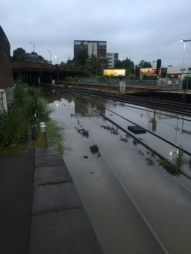 Severe weather disruption on routes through south east and south west London this morning: Severe weather disruption on routes through south east and south west London this morning: Clapham Junction flooded