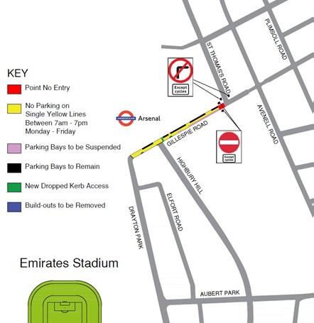 Action to improve Gillespie Road for residents, pedestrians and cyclists: Gillespie Rd trial point no-entry map