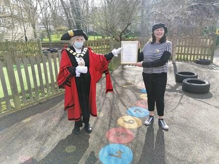 Elaine Maffrett: Elaine Maffrett receiving her Civic Award from Islington Mayor Cllr Janet Burgess