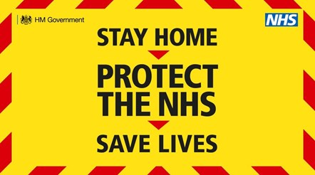 Graphic with the words Stay Home, Protect the NHS, Save Lives