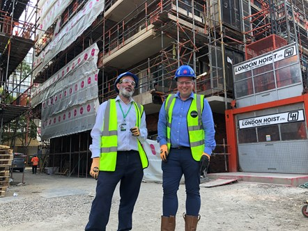 Diarmaid Ward and Jed Young, on Redbrick construction site