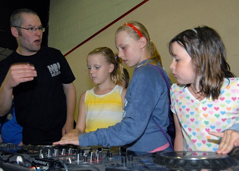 Kids learn DJing at No Messin' Live! Leeds