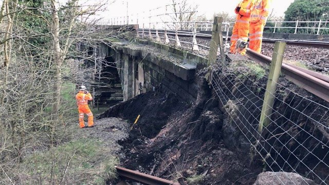 Landslip at Dutton Viaduct near Warrington