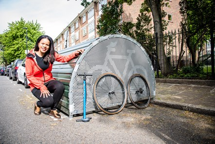 100th Bike Hangar 2: Cllr Claudia Webbe, executive member for environment and transport, celebrating the installation of the 100th on-street Bike Hangar in Islington.