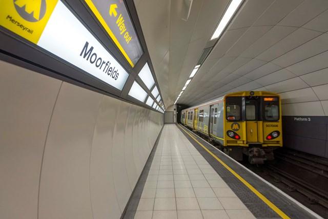 First of three platform upgrades at Moorfields station unveiled: Moorfields platform 3