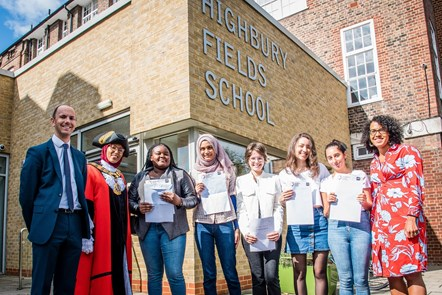 A-level results day at Highbury Fields School with (L-R) Tim Fox (former deputy headteacher, who is becomes headteacher in the new term); Mayor of Islington, Cllr Rakhia Ismail; Iris Britwum; Maryam Begum; Luiza Sommariva; Jenna Cahusac de Caux; Begum Aksu; Executive member for Children, Young People & Families, Cllr Kaya Comer-Schwartz: A-level results day at Highbury Fields School with (L-R) Tim Fox (former deputy headteacher, who is becomes headteacher in the new term); Mayor of Islington, Cllr Rakhia Ismail; Iris Britwum; Maryam Begum; Luiza Sommariva; Jenna Cahusac de Caux; Begum Aksu; Executive member for Children, Young People & Families, Cllr Kaya Comer-Schwartz