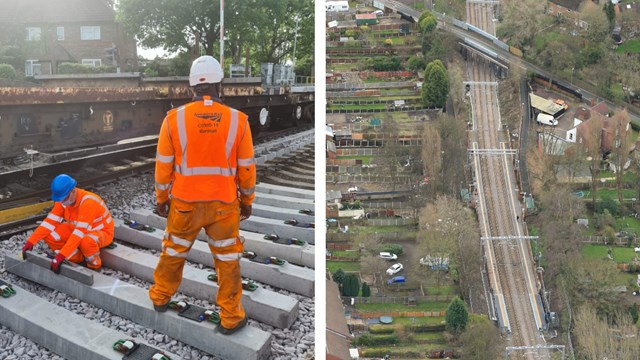 Track workers and Bloxwich station aerial composite
