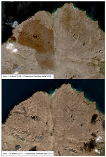 Wildfires 2018 - Rum - Sentinel 2 - Before and after - True colour