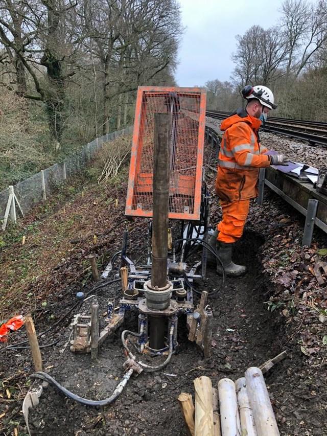 Ground conditions testing at Ockley Landslip - alder Copse embankment