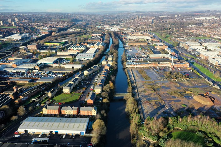 Five years on from Storm Eva: flood defence schemes bring hope as part of city's response against climate emergency: Kirkstall drone image