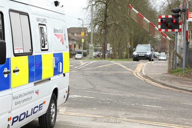 Level Crossing Mobile Camera Vehicle_2: Network Rail and the British Transport Police have introduced a purpose-built marked police vanfitted with nine cameras to tackle level crossing law breakers.