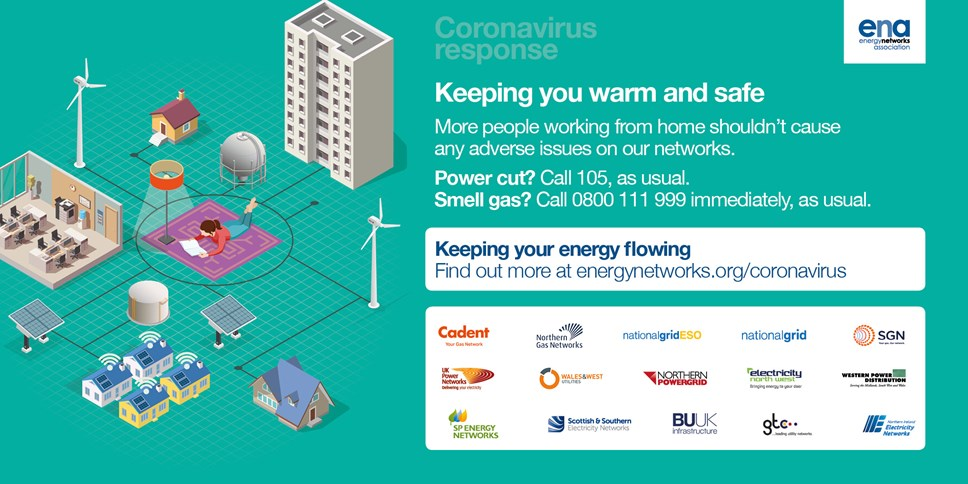 Energy networks reminds customers of safety advice: Coronavirus tile  - powercut numbers