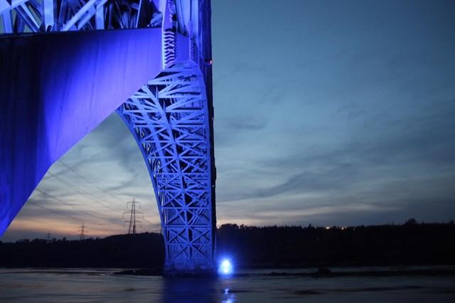 North Wales Britannia Bridge goes blue for NHS and key workers: Britannia Bridge 1