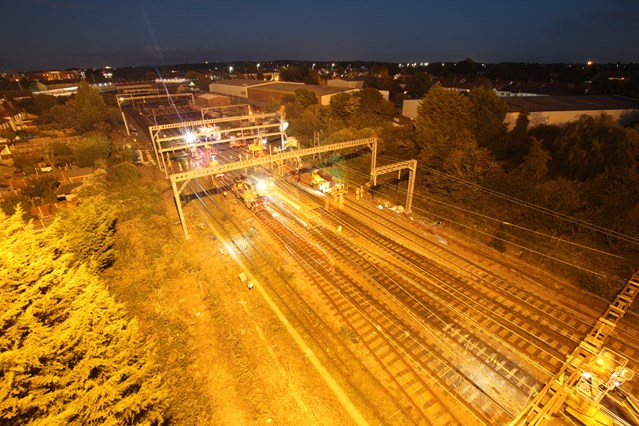 Time-lapse footage shows work to replace overhead wire to reduce delays for rail passengers in Norfolk, Suffolk and Essex: Gidea Park overhead wire project night