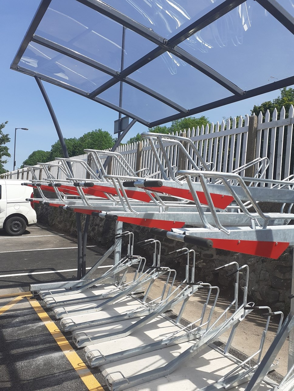 Transport for Wales gears up for major cycling investment: Bike rack at Abergavenny station