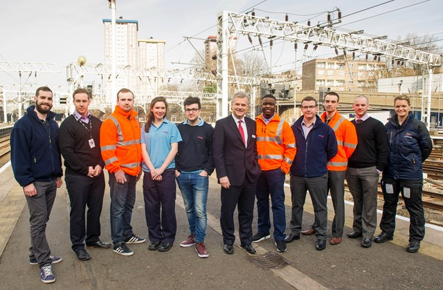 Mark Carne and 10 apprentices from 10 years of the scheme