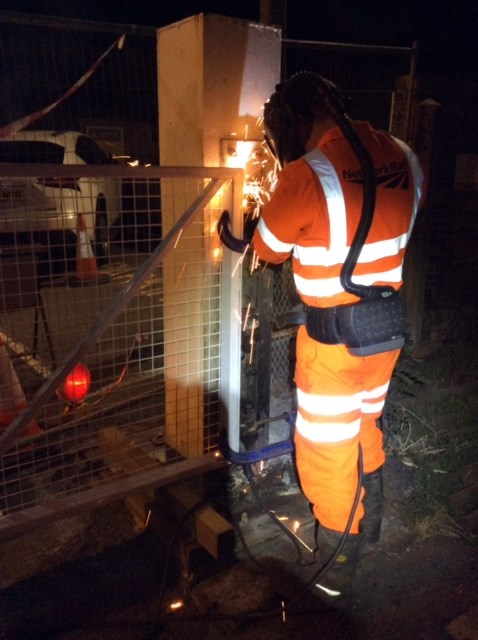 CHARTHAM4: Sparks fly as the new gates are Chartham are welded overnight