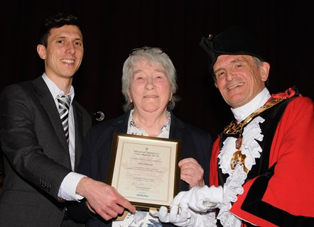 Dot Gibson - winner of the Mayor's Civic Awards 2019: With Ramzy Alwakeel, Editor of the Islington Gazette and Mayor of Islington Cllr Dave Poyser