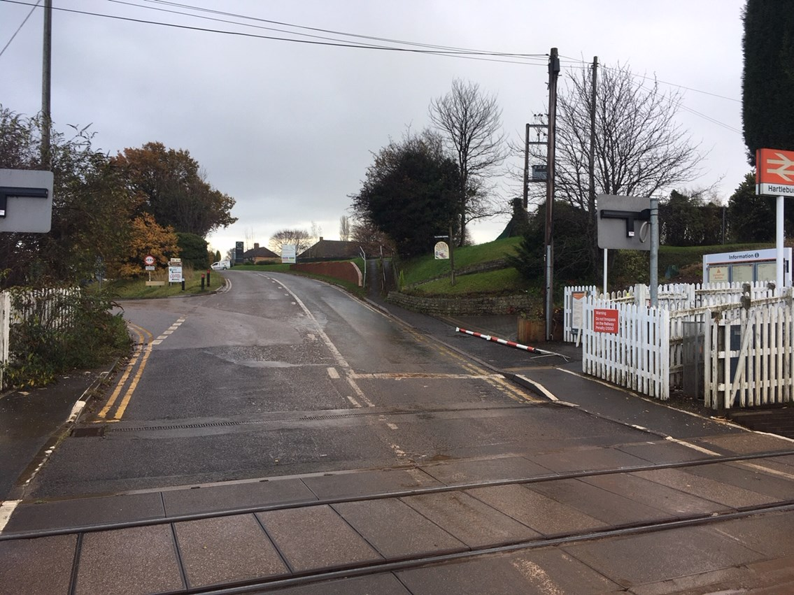 The level crossing as seen from the road in Hartlebury