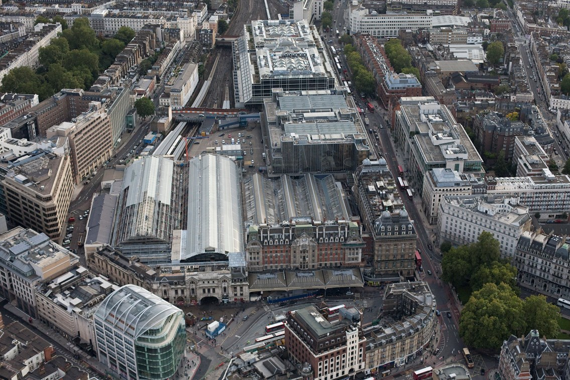 REMINDER: South London track and signalling upgrades fully underway along with improvement works at Gatwick Airport station during Early May Bank Holiday: Victoria station aerial view