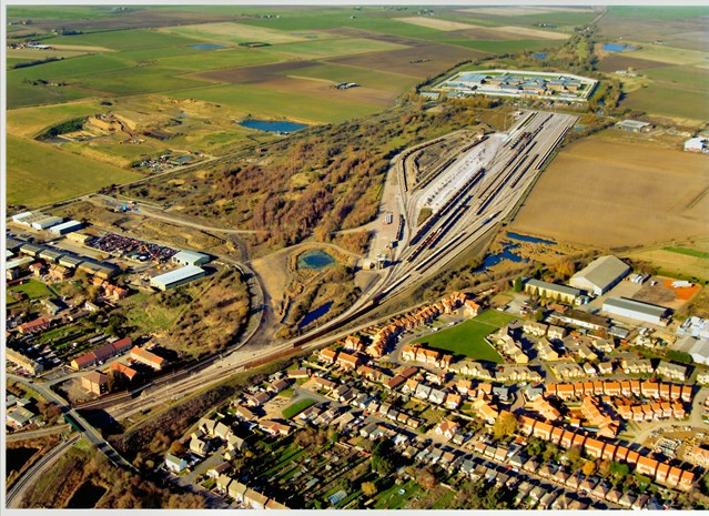 WHITEMOOR RAIL RECYCLING CENTRE PROMISES ECONOMIC AND ENVIRONMENTAL BOOST FOR MARCH: Whitemoor Yard - aerial view