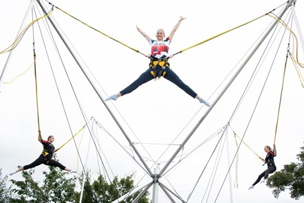 Bryony Page on Bungee Trampolines at Caister-on-Sea with local Dragons Trampoline Club members