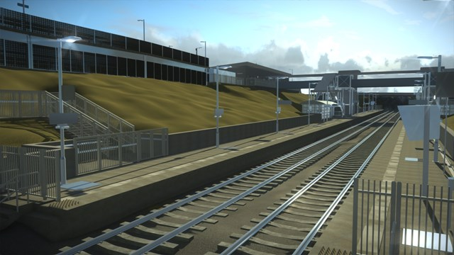 Computer image of proposed new Winslow station looking North-East from platform level