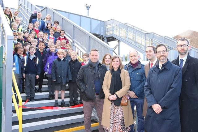 Schoolchildren help open new footbridge over White Hart Lane level crossing in Barnes: White Hart Lane footbridge opening