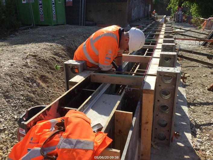Flood scheme wall being prepared: Work on the Leeds Flood Alleviation Scheme on Kirkstall Road  (image courtesy of BMMjv)