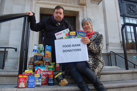 Winter collection for Islington Food Bank launches at Town Hall: Cllr Troy Gallagher and Kathy Weston from Islington Food Bank