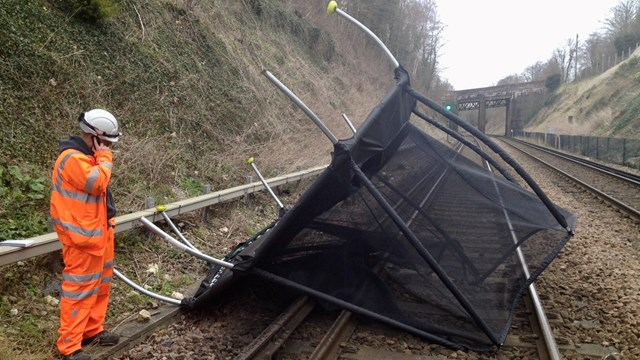 Storm Ciara update: 'Only travel by train this Sunday if absolutely necessary': Trampoline on track (1)