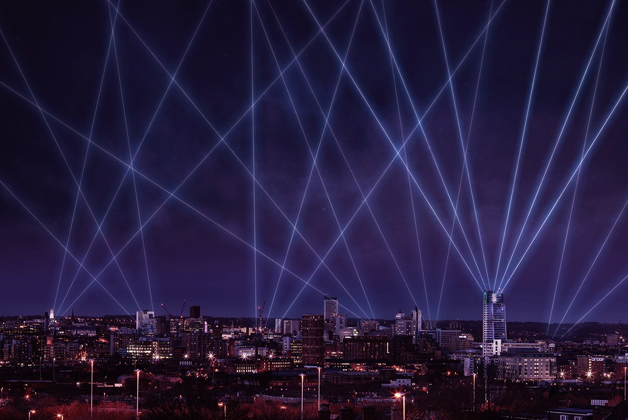 Light Night 2020: Artists impression of Laser Light City and the Leeds skyline which will be the first in a series of events presented by Light Night Leeds this autumn and winter. Based on original photography by Keith Craven.