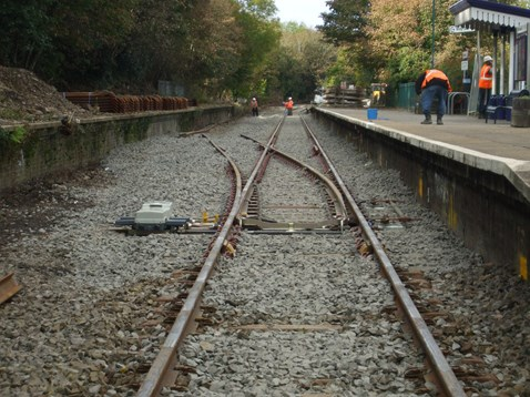 The new passing loop under construction at Penryn