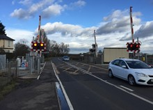 Chettisham level crossing red lights
